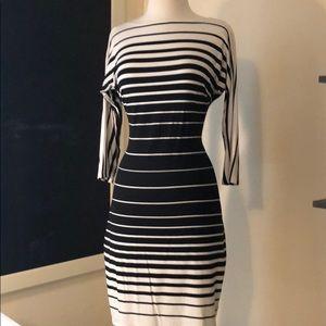 Cavhé black and white striped dress